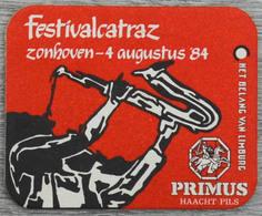Sous-bock PRIMUS Haacht Pils Festivalcatraz 1984 Limburg (saxophone, Musicien) Bierdeckel Bierviltje Coaster (CX) - Bierviltjes