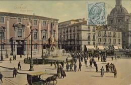 CATANIA-PIAZZA DUOMO-CARTOLINA ANIMATISSIMA VIAGGIATA IL 17-12-1909 - Catania
