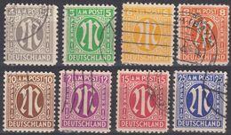 GERMANIA, OCCUPAZIONE, BIZONA - 1945/1946 - Lotto Otto Valori Usati: Yvert 3, 4, 5, 6, 7, 8, 9 E 13. - Zona Anglo-Americana