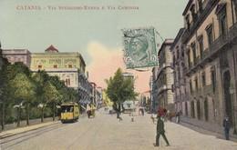 CATANIA-VIA STESICORO E VIA CARONDA-CARTOLINA ANIMATA CON TRAM-VIAGGIATA NEL 1910 - Catania