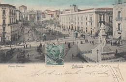 CATANIA-PIAZZA STESICOSO-CARTOLINA ANIMATA CON TRAM-VIAGGIATA IL 21-1-1910 - Catania