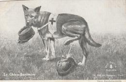 """Rare Cpa Chien Sanitaire """"pissant"""" Sur Casque à Pointe - 1914-18"""