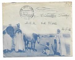 Enveloppe Illustrée Personnage Cheval  Poste Aux Armées Afn 1957 Avec Courrier - Algérie (1924-1962)