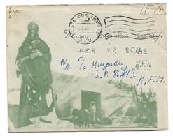Enveloppe Illustrée Personnage Ane  Poste Aux Armées Afn 1957 Avec Courrier - Algérie (1924-1962)