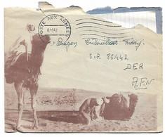 Enveloppe Illustrée Personnage Chameau   Poste Aux Armées Afn 1957 Avec Courrier - Algérie (1924-1962)