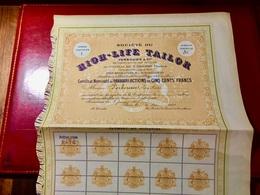 Sté Du HIGH-LIFE TAILOR VERBOUWE & Cie ------Certificat  D' Une  Action  De  500 Frs - Tessili