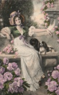 Illustration M.M. Vienne M. Munk N° 708 - Femme Avec Ses Chiens (Viennoise) - Carte Non Circulée - Vienne