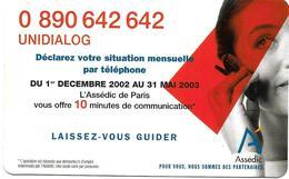 @+ Codcarte France Télécom - Unidialog Paris - 10min - Z22520041715 - FT