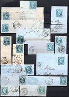 E164 Bel Ensemble De 15 Fragments Lettres N° 22a Bleu. Idéal étude Losanges GC Variétés Et Nuances ... Voir Commentaires - 1862 Napoléon III