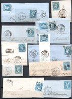 E166 Bel Ensemble De 13 Fragments Lettres N° 22a Bleu. Idéal étude Losanges GC Variétés Et Nuances ... Voir Commentaires - 1862 Napoleon III