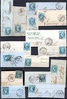 E167 Bel Ensemble De 15 Fragments Lettres N° 22a Bleu. Idéal étude Losanges GC Variétés Et Nuances ... Voir Commentaires - 1862 Napoléon III