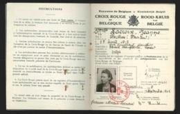 """Carnet D'immatriculation Ambulancières Croix Rouge De Belgique + Brassard + Lettre """"palmes De La Croix Rouge De Belgique - 1939-45"""