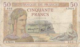 Billet 50 F Cérès Du 17-2-1938 FAY 18.09 Alph. S.7614 DATE RARE ! - 1871-1952 Antichi Franchi Circolanti Nel XX Secolo