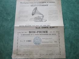 SOCIETE GENERALE Des MACHINES PARLANTES à SAPHIR - 89, Boulevard Brune à PARIS - Etienne CHANOIT, Directeur - Instruments De Musique