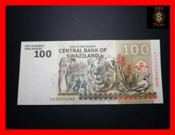 SWAZILAND 100 Emalangeni 6.9.2010 P. 39 Low Serial  UNC - Swasiland