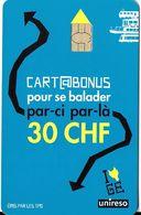 CARTE A PUCE TRANSPORT SUISSE TPG TRANSPORTS GENÈVE CARTE BONUS 30 CHF  POUR SE BALADER PAR-CI PAR-LA - Altri