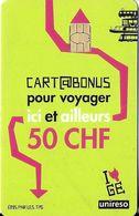 CARTE A PUCE TRANSPORT SUISSE TPG TRANSPORTS GENÈVE CARTE BONUS 50 CHF  POUR VOYAGER  ICI ET AILLEURS - Altri