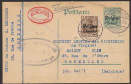 """Guerre 14-18 - EP Au Type 5ctm Vert + OC1 Obl à Pont """"Maubeuge"""" (1916) + étiquette PUB """"Imprimerie"""" Et Censure > Bruxell - Stamped Stationery"""