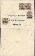 """Guerre 14-18 - OC1 X4 Sur Petite Env. Obl Simple Cercle """"Heer"""" + Censure Philippeville > Anvers - Guerre 14-18"""