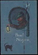 Künstler-AK Neujahrskarte: Nachtwächter Mit Schwarzer Katze, MÜNCCHEN 31.12.1907 - Illustrateurs & Photographes