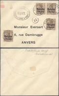 """Guerre 14-18 - OC1 X4 Sur Petite Env. Obl Simple Cercle """"Burdinne"""" (1918) + Censure Huy > Anvers - Guerre 14-18"""