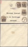 """Guerre 14-18 - OC1 X4 Sur Petite Env. Obl Simple Cercle """"Petit-Réchain"""" + Censure Verviers > Anvers - Guerre 14-18"""