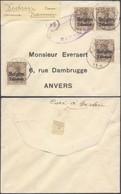 """Guerre 14-18 - OC1 X4 Sur Petite Env. Obl Simple Cercle """"Vedrin"""" (1916) + Censure Namur > Anvers - Guerre 14-18"""