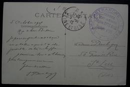 Camp Retranché De Paris Service Du Génie Région Epte Oise Secteur D'Us 1915, Cachet Rond Sur Carte D'Ableiges - Postmark Collection (Covers)