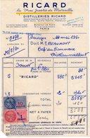 Facture - RICARD - Le Vrai Pastis De Marseille - Distilleries RICARD - Timbres Fiscaux - 1950 - Francia