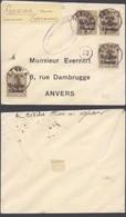 """Guerre 14-18 - OC1 X4 Sur Petite Env. Obl Simple Cercle """"Gesves"""" + Censure Namur > Anvers - Guerre 14-18"""