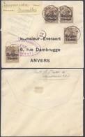 """Guerre 14-18 - OC1 X4 Sur Petite Env. Obl Simple Cercle """"Sauvenière"""" + Censure Bruxelles > Anvers - Guerre 14-18"""