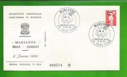 """SAINT PIERRE Et MIQUELON. N°504 - FDC -  Enveloppe 1er Jour Du 2 Janvier 1990."""" Marianne"""" BRIAT - JUMELET - FDC"""