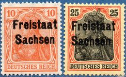 Germany Saxony 1919 Freistaat Sachsen Overpint On Germania, 2 Values  2005,1521 - Saxony