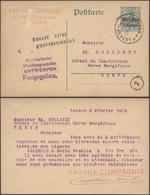 "Guerre 14-18 - EP Au Type 5ctm Vert Obl ""Antwerpen"" (1915) + Censure 4 Lignes > Herve. Griffe ""Zuruck Keine / Postverbin - Entiers Postaux"