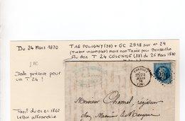 JURA : T 16 POLIGNY + GC 2918 Sur N°29   En 1870 - 1849-1876: Periodo Clásico