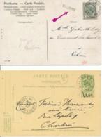 2 Cartes Cachet Linéaire Nalinnes Via Ham-sur-Lesse 21 NOV -1906 & Entiers Nalinnes 18 MAI 1905 - Lineari