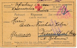 1914/18 Partie Réponse PG KuK En Russie - Verso, Texte Gratté Par La Censure. - 1850-1918 Empire