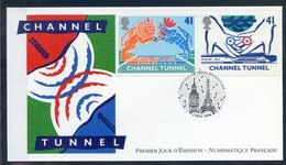 TIMBRE FRANCE...REF150520...DOCUMENT PHILATELIQUE 1ER JOUR ...3 Mai 1994 CHANNEL TUNNEL - 1990-1999