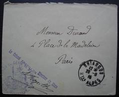 Briançon 1915, Cachet Du Génie  + Colonel Frapillon Directeur Du Génie, Avec Signature, Sur Enveloppe Pour Paris - Postmark Collection (Covers)