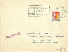 RHONE - Dépt N° 69 = LYON GROLÉE (2e ARR) 1966 =  FLAMME Non Codée = SECAP 'CONGRES NATIONAL Du GENIE ' - Postmark Collection (Covers)
