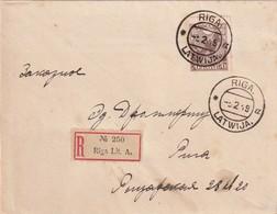 LETTONIE 1919 LETTRE RECOMMANDEE DE RIGA - Letonia