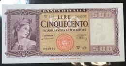 500 LIRE ITALIA  Serie Sostitutiva W 126 20 03 1947 Raralievemente Pressata Piega Verticale Centrale Sup   LOTTO 802 - [ 1] …-1946 : Royaume