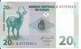 CONGO 20 CENTIMES 1997 UNC P 83 - Non Classés