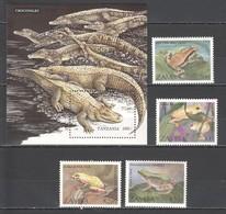 F232 1996 TANZANIA ZAMBIA ANIMALS REPTILES FROGS CROCODILES 1SET+1BL MNH - Reptiles & Amphibians