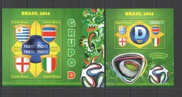 ST2922 !!! LAST 3 IN STOCK 2014 GUINE GUINEA-BISSAU SPORT FOOTBALL WORLD CUP BRAZIL GROUP D KB+BL MNH - 2014 – Brasil