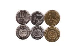 Uzbekistan - Set 3 Coins 1 5 10 Som 2000 - 2001 UNC Lemberg-Zp - Uzbenisktán