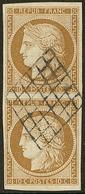 No 1, Paire Verticale Obl Grille, Jolie Pièce. - TB. - R - 1849-1850 Ceres