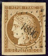 No 1a, Bistre-brun, Un Voisin, Obl Pc 1896, Nuance Très Foncée, Superbe. - R - 1849-1850 Ceres