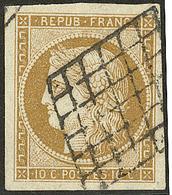 No 1b, Bistre Verdâtre, Obl Grille, Jolie Pièce. - TB - 1849-1850 Ceres