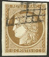 No 1c, Bistre-verdâtre Foncé, Obl Grille, Jolie Pièce. - TB - 1849-1850 Ceres